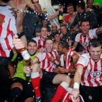 The Saints gain promotion to the Barclay's Premier league