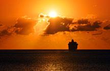 cruise ship in sunset